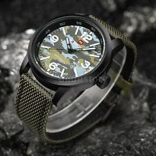 NAVIFORCE Mens Quartz Analog Wrist Watch Date Army Sport Canvas Nylon Strap K8V6