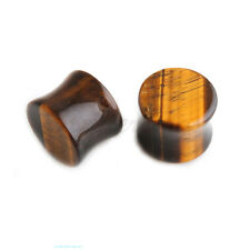 1PAIR TIGER EYE Organic Flared Saddle Stone Ear Plugs Ear Gauges EAR TUNNEL