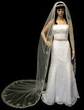 White Cathedral Silver Embroidered Rhinestone Pearl Wedding Bridal Veil
