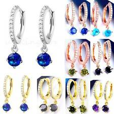 Earrings Hoop Drop Cute CZ Two-Color Gems White/Yellow/Rose-Gold Plt-Your Choice