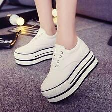 Women's High Top Lace Up Casual Fashion Sneakers Platform Creeper Canvas Shoes 7