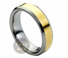 Ladies 6mm 2-Tone Beveled Edge Tungsten Ring w/ Yellow Gold Plated Center TS1670