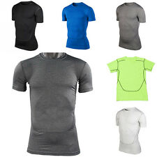 Mens Sports Under Compression Tight Short Sleeve T-Shirt Athletic Top Summer