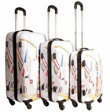 """High Quality 3 Piece Printed ABS Luggage Bags Set. 20"""", 24"""" & 28"""""""