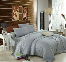 GREY EGYPTIAN COTTON 400 THREAD COUNT DUVET COVER SET / FITTED SHEET SETS