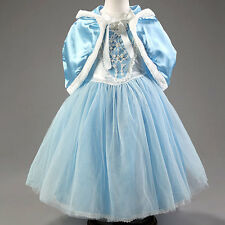 Cinderella Hooded Capelet Fancy Dress Cape Princess Birthday Gift Party Costume