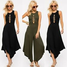 Sexy Women Hollow Sleeveless Vest Halter Wide Leg Pants Loose Rompers Jumpsuits