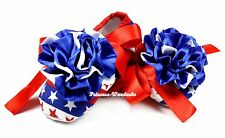 4Th July USA Flag Patriotic Star Rosette Red Ribbon Infant Baby Crib Shoe NB-18M