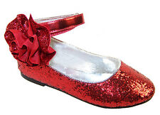 Girls Red Glitter Sparkle Party Ballerina Shoes Bridesmaid Occasion Dorothy WOZ