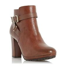 Dune Ladies PUGGY Strap And Buckle Detail Leather Ankle Boot in Tan