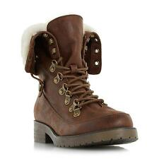Head Over Heels by Dune Ladies ROLLO Warm Lined D Ring Lace Up Boot in Tan