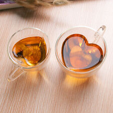 Creative Heart Shaped Clear Glass Mug Coffe Tea Cup Double Wall For Lovers New
