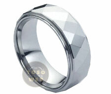 Men's 8mm Stepped Edge High Polish Tungsten Ring w/ Faceted Cut Center TS0960
