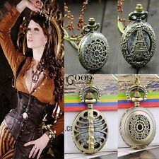 Antique Vintage Bronze Steampunk Chain Quartz Pendant Pocket Watch Necklace TXGT
