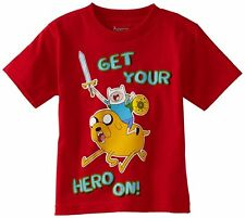 Adventure Time Finn Jake Get Your Hero On Red Kids Youth Boys T-Shirt Small New