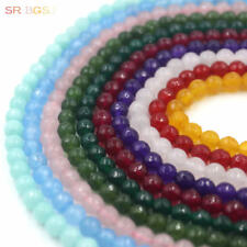 "Jewelry Making Round Faceted Jade Gemstone Spacer Beads Strand 15"" 4 6 8mm"