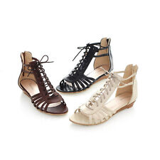 Summer Womens Hollow Out Wedge Low Heel Lace Up Zip Roman Sandals Shoes Plus Sz