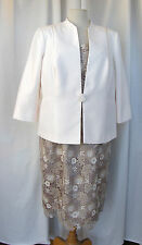 JACQUES VERT 3 COLOUR LACE DRESS MATCHING CREAM JACKET