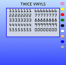 STICKY NUMBERS 0 to 9 OCR STANDARD 20mm OR 25mm high vinyl set - any colour