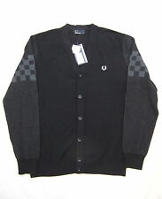NEW FRED PERRY K6225 MENS BLACK CHECKERBOARD COTTON BLEND CARDIGAN SIZE S
