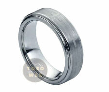 Unisex 7mm Stepped Edge Tungsten Ring w/ Cross Accent Brushed Center TS0890