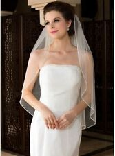 White Ivory 1T Elbow Length Rhinestone Edge Wedding Bridal Bride Veil With Comb