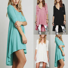 Fashion Womens 3/4 Sleeve Casual Loose Tops Shirt Blouse Asymmetric Tunic Dress