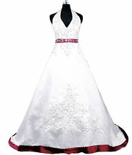 2017 Women's Halter Satin Embroidery Wedding Dress Bridal Gown Custom Size