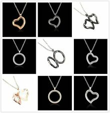 Charm Living Memory Floating Glass Round/Heart Locket Pendant Necklace Beautiful