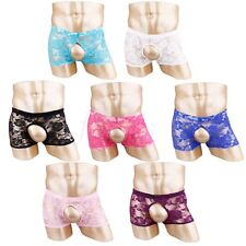 Sexy Men's Lace Underwear Boxer Briefs Trunk Open Front Shorts Underpants M-XL