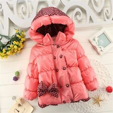 1-4T Winter Warm Toddler Kids Baby  Bowknot Double-breasted Jacket Outwear Coat