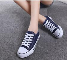 New Women And Men Simple Style Canvas Couples Flat Lace Up Board Shoes