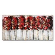 Hand Painted Modern Oil Painting Abstract Canvas Wall Art Red Tree Artwork Frame