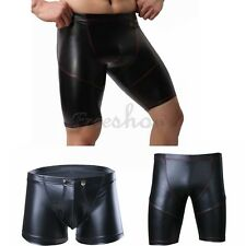 Sexy Mens Lingerie Leather Boxer Briefs Shorts Sports Tighs Underpants Underwear