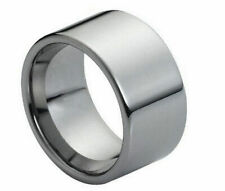 12mm Men's Genuine Tungsten Carbide High Polished Pipe Cut  Wedding Band Ring