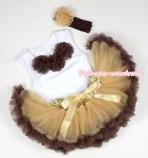 Newborn Baby Golden Brown Pettiskirt Brown Rose White Top Shirt 2PC Set 3-12M