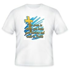 Christian T-shirt The cross is where you leave your burdens and walk by faith