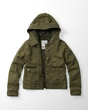 Abercrombie & Fitch Hooded Twill Jacket Quilted Inside XS S or M Olive NWT