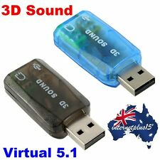 USB to 3D AUDIO SOUND CARD EXTERNAL ADAPTER VIRTUAL 5.1 CH MIC HEADPHONE  S4W