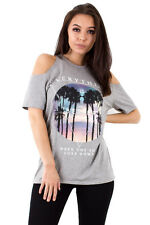 Ladies Womens Casual New Grey Everythings Better Slogan Cold Shoulder T Shirt