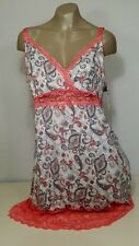 Delta Burke Plus Size 1X 2X 3 Printed Microfiber Chemise NWT $36 With Lace
