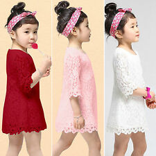 Kids Girls Toddler Princess Floral Lace Top Skirt Half Sleeve Summer Party Dress