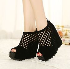SALE Stylish Womens hollow out gladiator wedge heel peep toe sandal pumps shoes