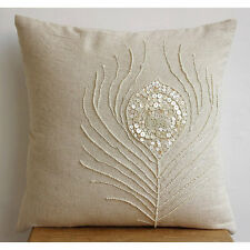 Pearly Peacock Feather - Beige Cotton Linen 65x65 cm Euro Shams