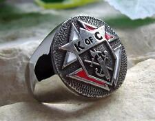 KNIGHTS OF COLUMBUS DEGREE STEEL SILVER GOLD RING PIN PATCH D67