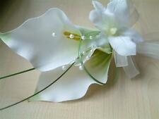Wedding Flowers - Grooms Double Calla Lily Buttonhole, Ladies Corsage,