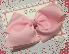 "Girls Handmade 6"" Large Pearl Pink Zozo Bow, Clip, Hair Bows, big bow"