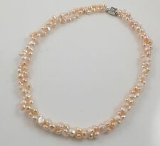 Double-strand Pink Freshwater Pearl Necklace & Silver Earrings set 18''