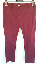 PER UNA MARKS&SPENCER PLUM RED CHINO JEANS SIZE 12 SHORT/PETITE W31 R11 L28