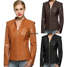 Short outerwear Zipper Pocket Jacket Coat Synthetic Leather Womens Slim OO55
